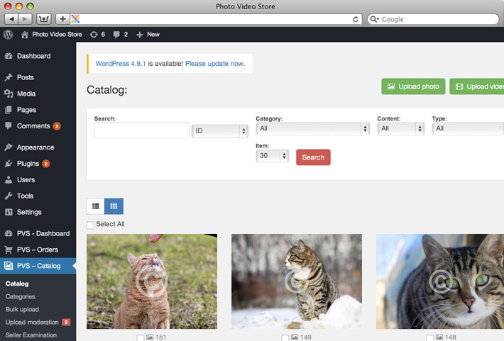 Admin panel Catalog for Photo Store admin Wordpress plugin