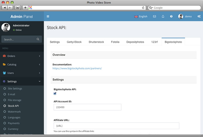 Bigstockphoto API integration