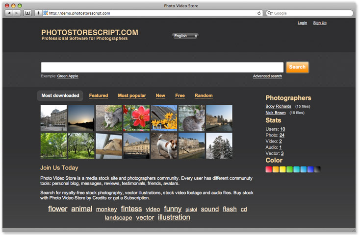 Template 12. Photo video Stock software